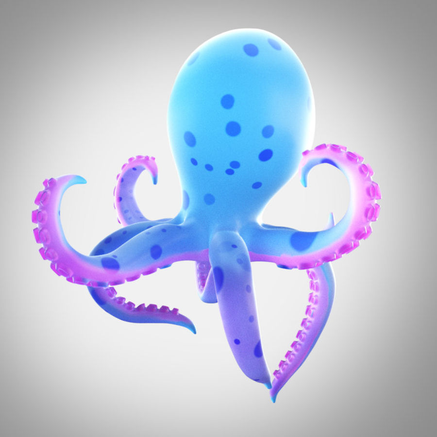 Cartoon octopus royalty-free 3d model - Preview no. 2
