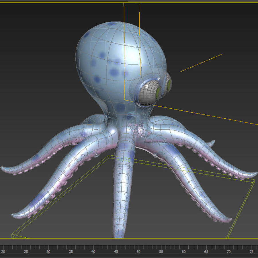 Cartoon octopus royalty-free 3d model - Preview no. 7