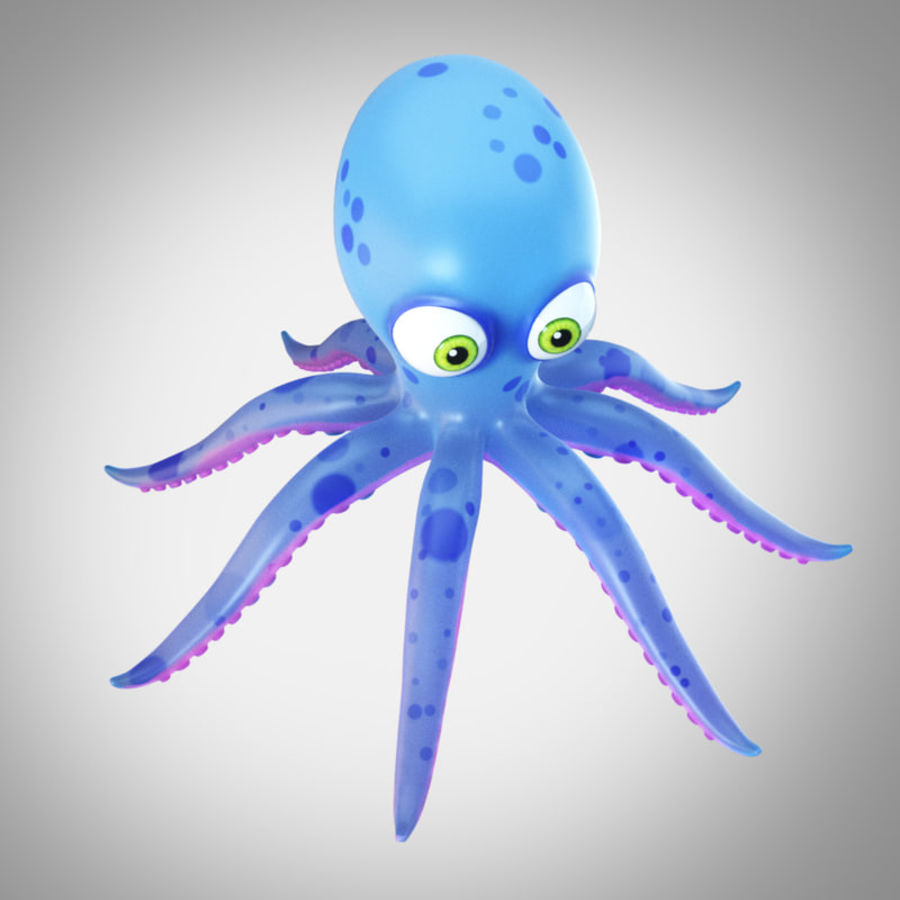 Cartoon octopus royalty-free 3d model - Preview no. 3