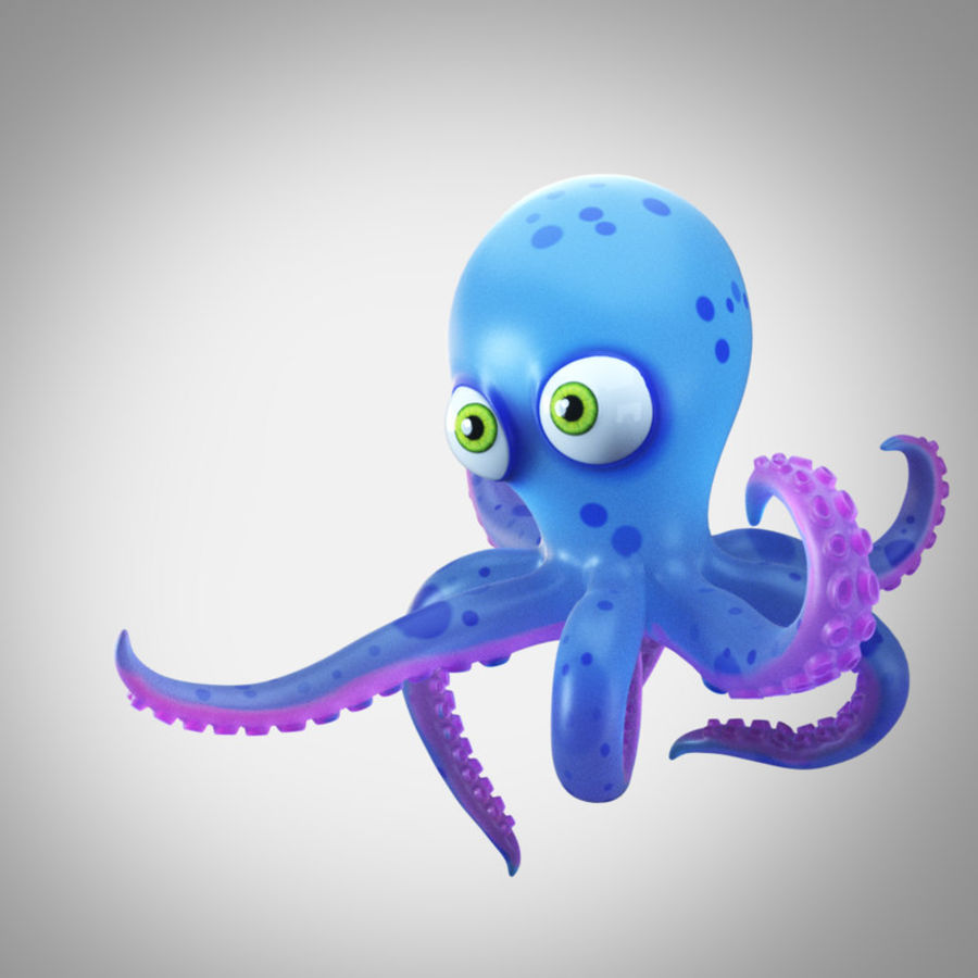 Cartoon octopus royalty-free 3d model - Preview no. 5