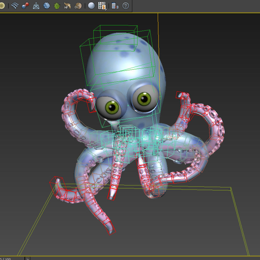 Cartoon octopus royalty-free 3d model - Preview no. 8