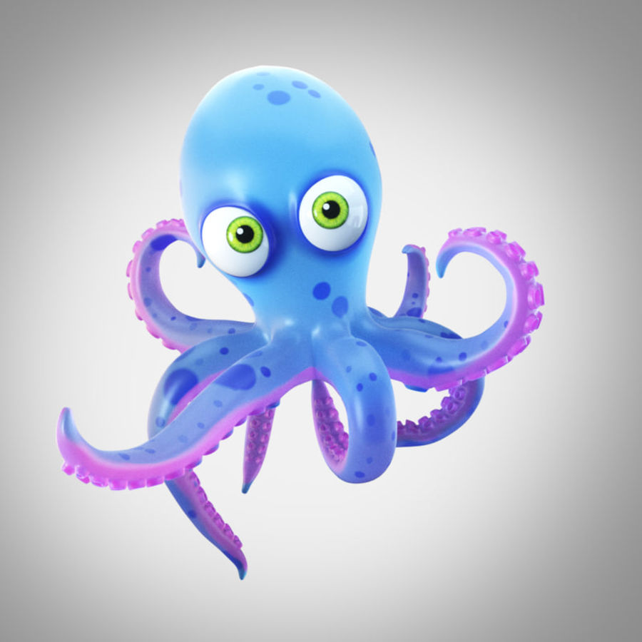 Cartoon octopus royalty-free 3d model - Preview no. 1