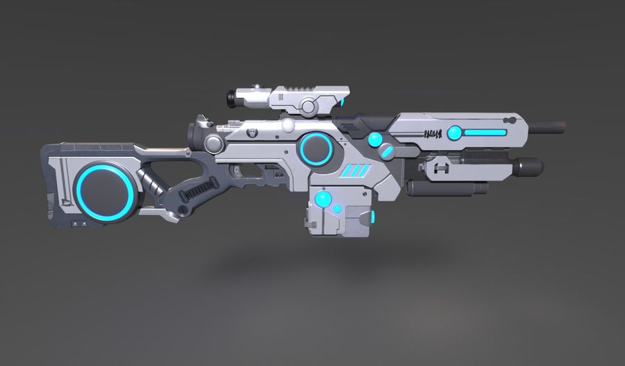 Sci-Fi Weapon royalty-free 3d model - Preview no. 8