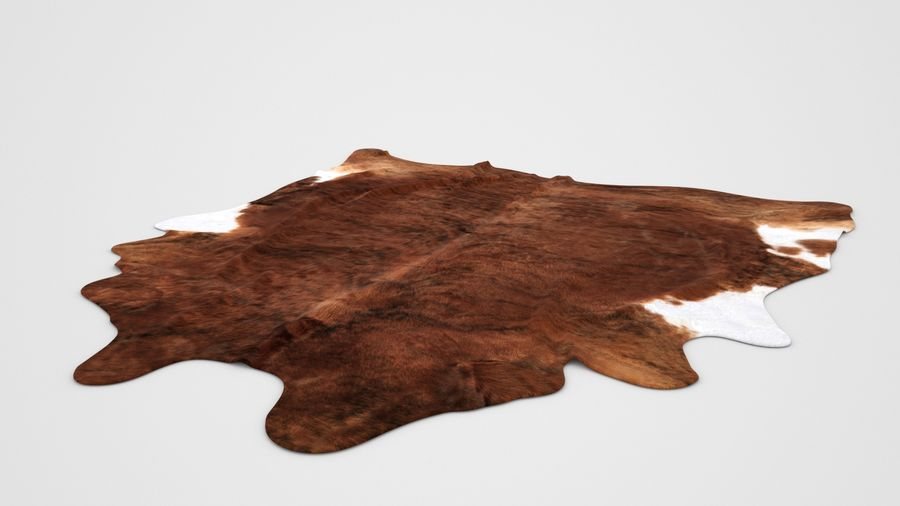 IKEA carpet Cow hide KOLDBY2 Brown rug royalty-free 3d model - Preview no. 3