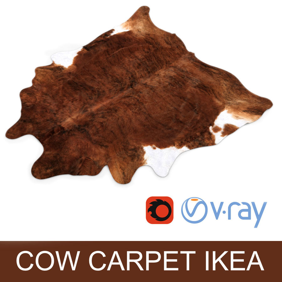 IKEA carpet Cow hide KOLDBY2 Brown rug royalty-free 3d model - Preview no. 1