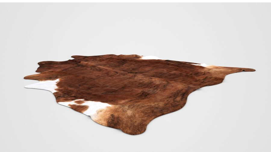 IKEA carpet Cow hide KOLDBY2 Brown rug royalty-free 3d model - Preview no. 4