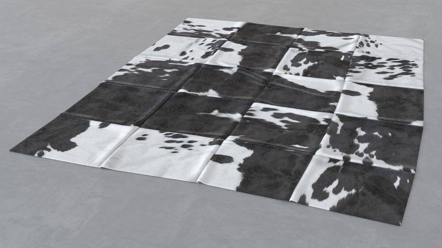 Modern skin carpet #5: Kuhfell Teppich - cow hide rectangle patchwork rug royalty-free 3d model - Preview no. 7