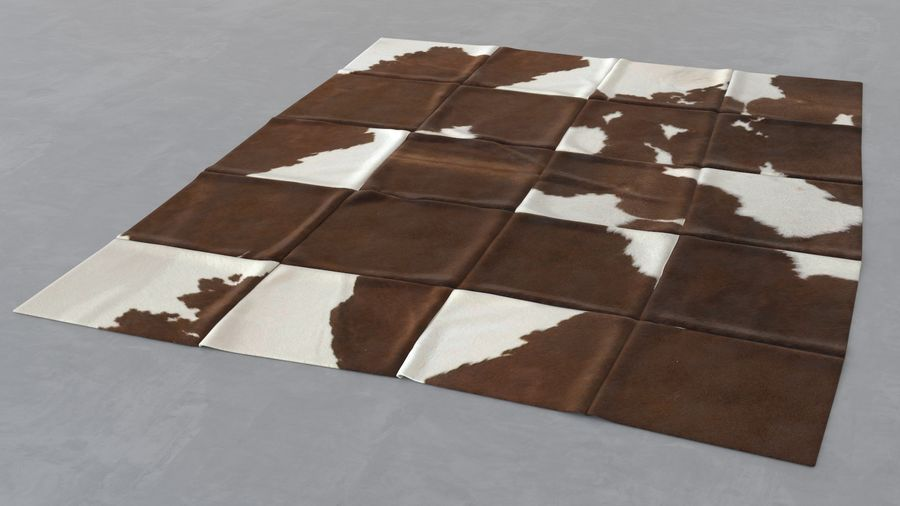 Modern skin carpet #5: Kuhfell Teppich - cow hide rectangle patchwork rug royalty-free 3d model - Preview no. 4