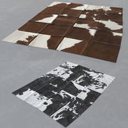Modern skin carpet #5: Kuhfell Teppich - cow hide rectangle patchwork rug 3d model