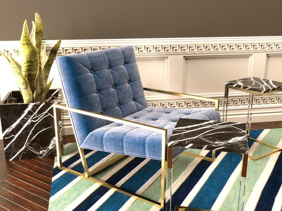 Jonathan Adler Goldfinger Lounge Chair Royalty Free 3d Model   Preview No. 1