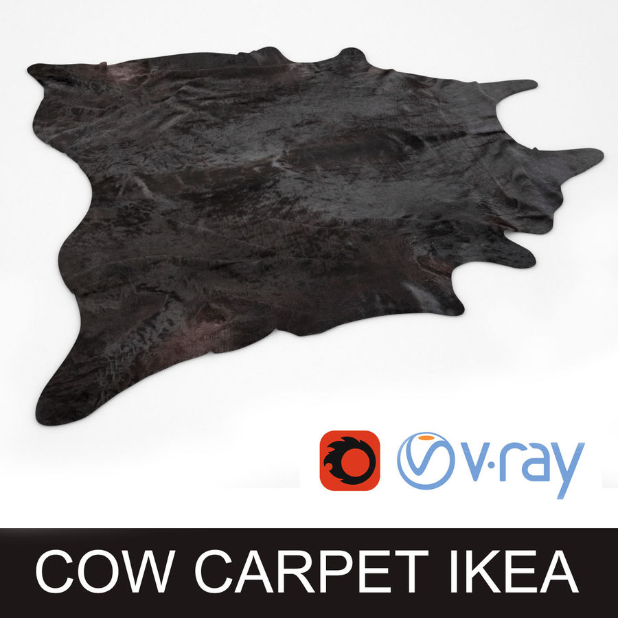 Ikea Koldby black cow hide carpet rug