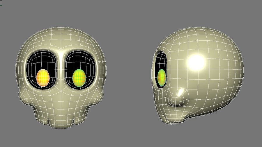 Skull Toon royalty-free 3d model - Preview no. 7