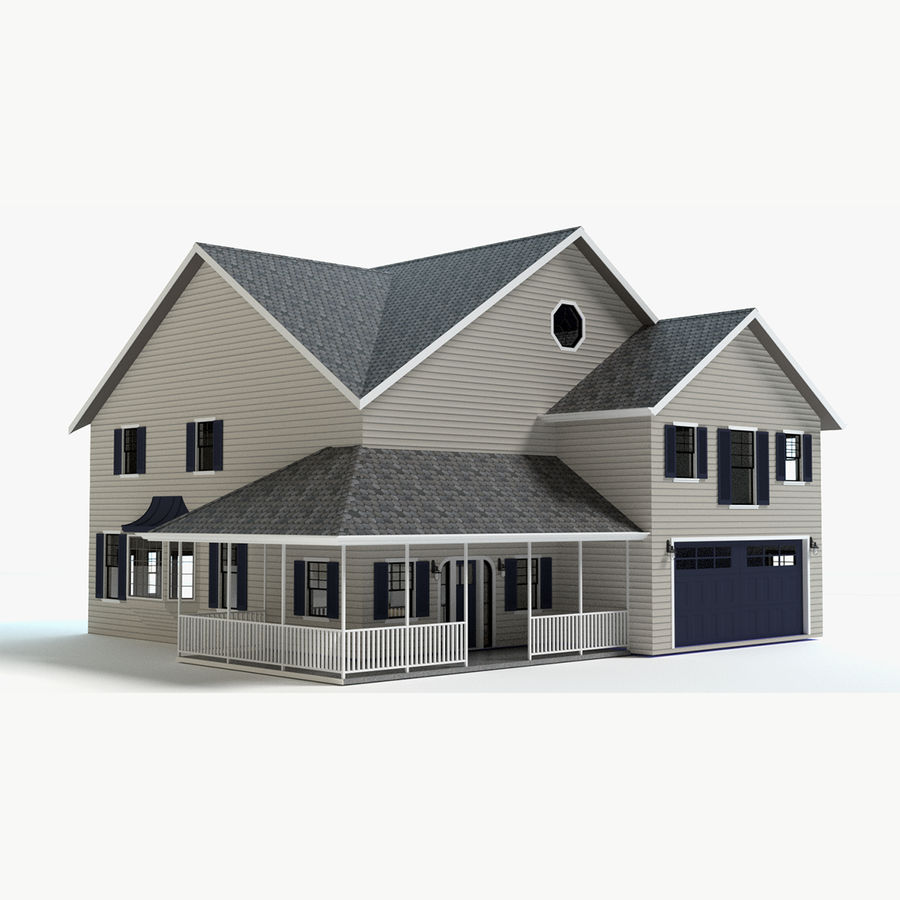 Country Farm House royalty-free 3d model - Preview no. 1