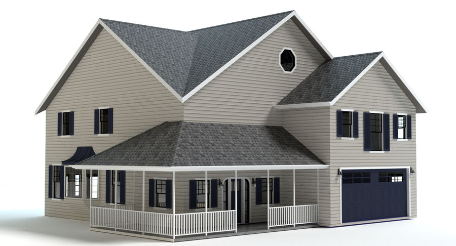 Country Farm House royalty-free 3d model - Preview no. 2
