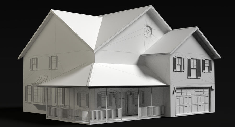 Country Farm House royalty-free 3d model - Preview no. 5