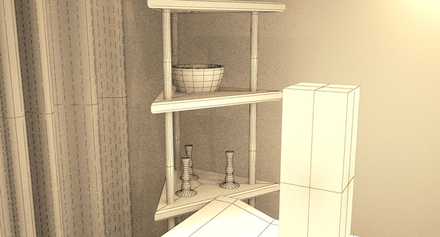 Hotel Room Night Scene royalty-free 3d model - Preview no. 9