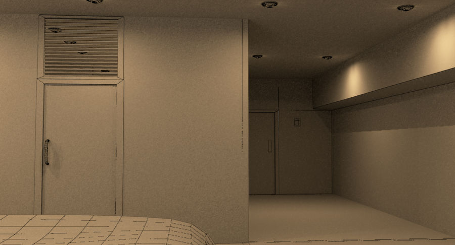 Hotel Room Night Scene royalty-free 3d model - Preview no. 10