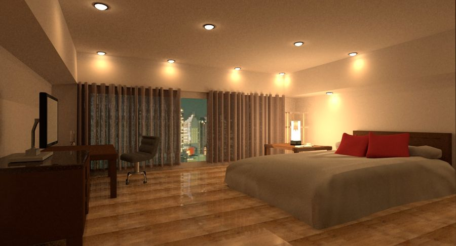 Hotel Room Night Scene royalty-free 3d model - Preview no. 1
