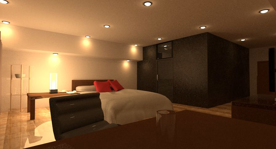 Hotel Room Night Scene royalty-free 3d model - Preview no. 2