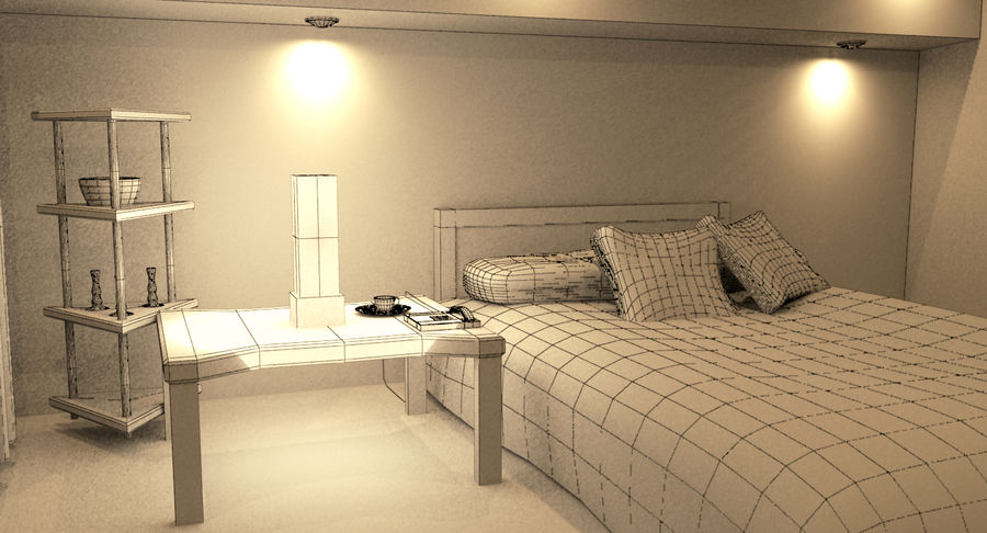 Hotel Room Night Scene royalty-free 3d model - Preview no. 8