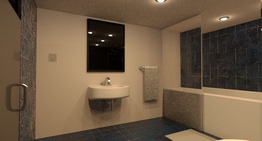 Hotel Room Night Scene royalty-free 3d model - Preview no. 4