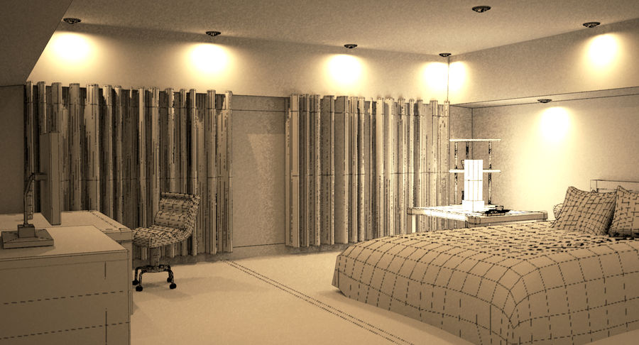 Hotel Room Night Scene royalty-free 3d model - Preview no. 7