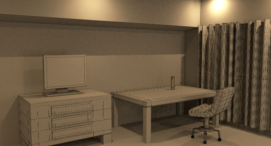 Hotel Room Night Scene royalty-free 3d model - Preview no. 11