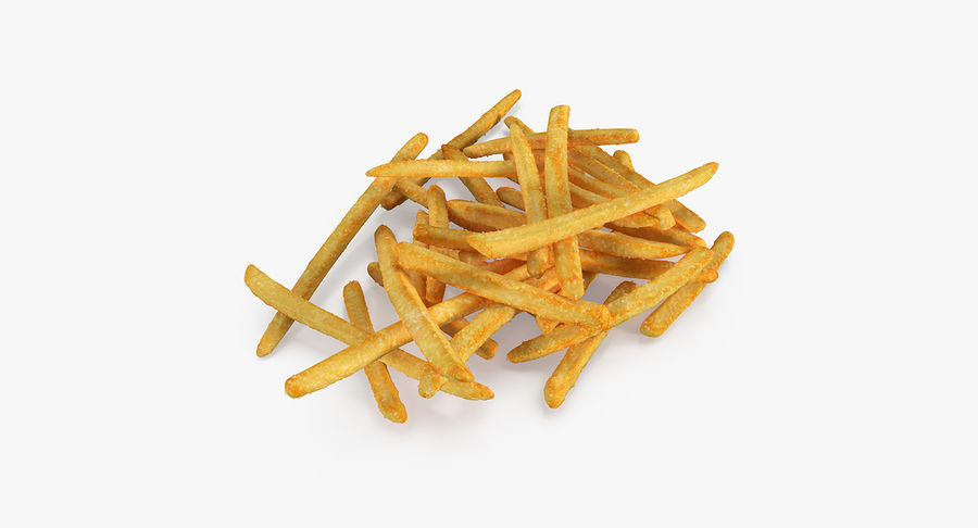 Pile Of French Fries royalty-free 3d model - Preview no. 2