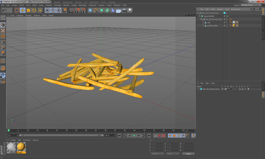 Pile Of French Fries royalty-free 3d model - Preview no. 16