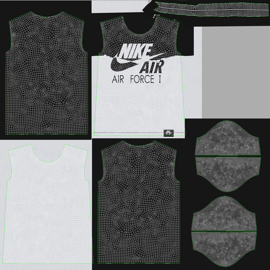 Camiseta Nike Air Force 1 royalty-free modelo 3d - Preview no. 18