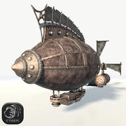 Steampunk airship (3) low poly 3d model