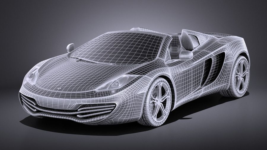 Mclaren MP4 12C Spider 2014 VRAY royalty-free 3d model - Preview no. 16