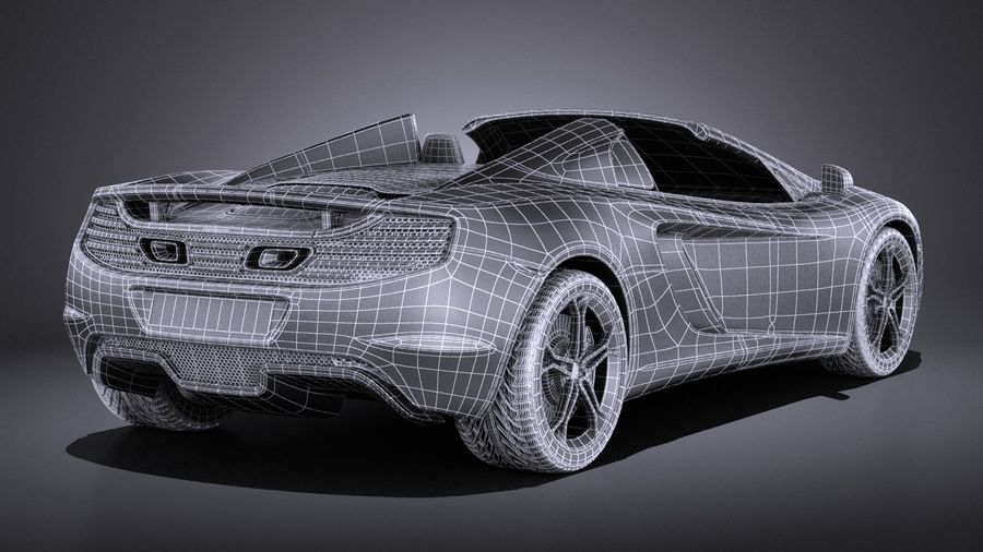 Mclaren MP4 12C Spider 2014 VRAY royalty-free 3d model - Preview no. 19