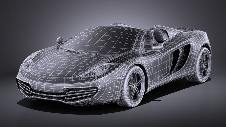 Mclaren MP4 12C Spider 2014 VRAY royalty-free 3d model - Preview no. 18