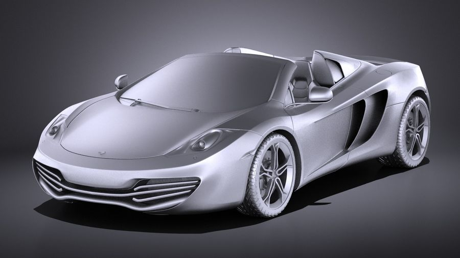 Mclaren MP4 12C Spider 2014 VRAY royalty-free 3d model - Preview no. 9