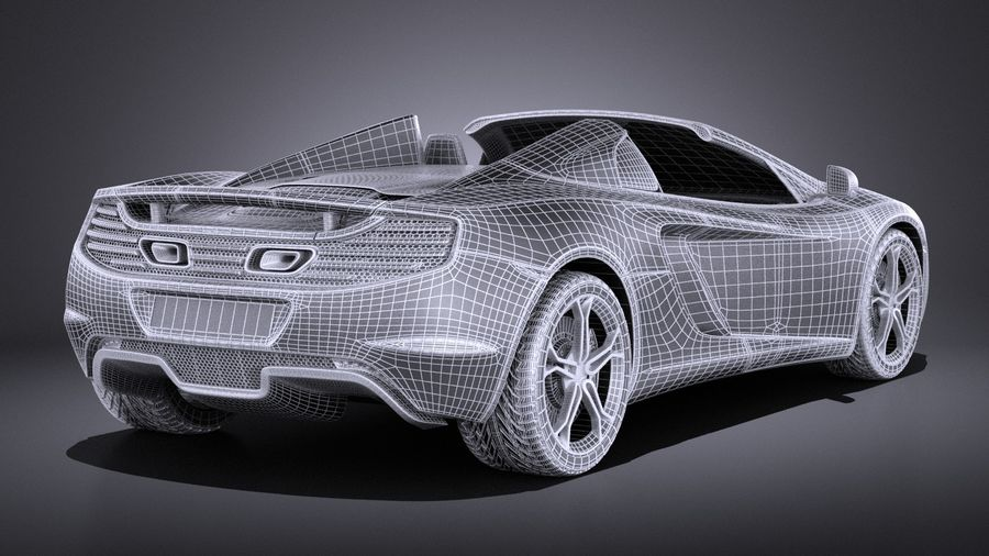 Mclaren MP4 12C Spider 2014 VRAY royalty-free 3d model - Preview no. 17