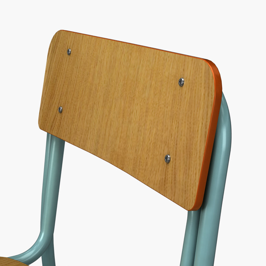 School Chair royalty-free 3d model - Preview no. 7