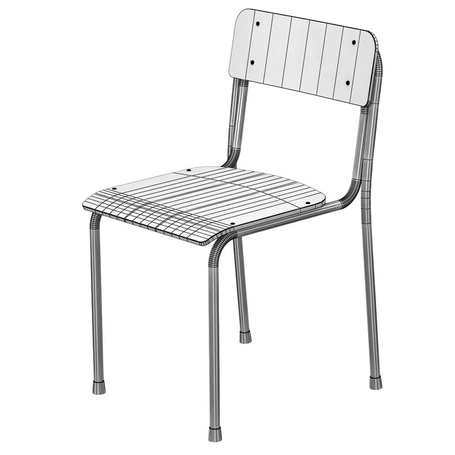 School Chair royalty-free 3d model - Preview no. 2