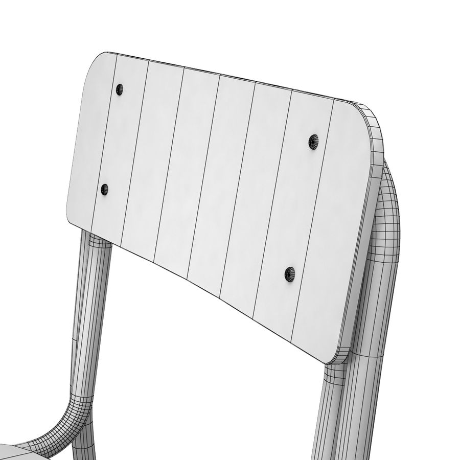 School Chair royalty-free 3d model - Preview no. 8