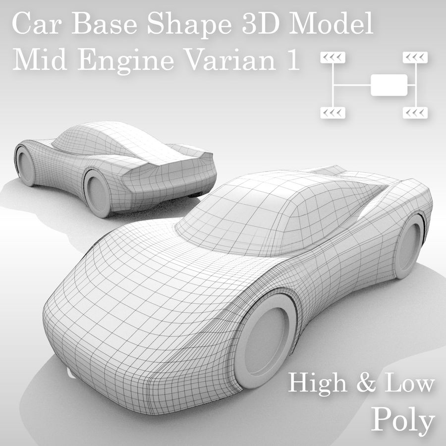 Variante layout MR per base auto 1 royalty-free 3d model - Preview no. 1