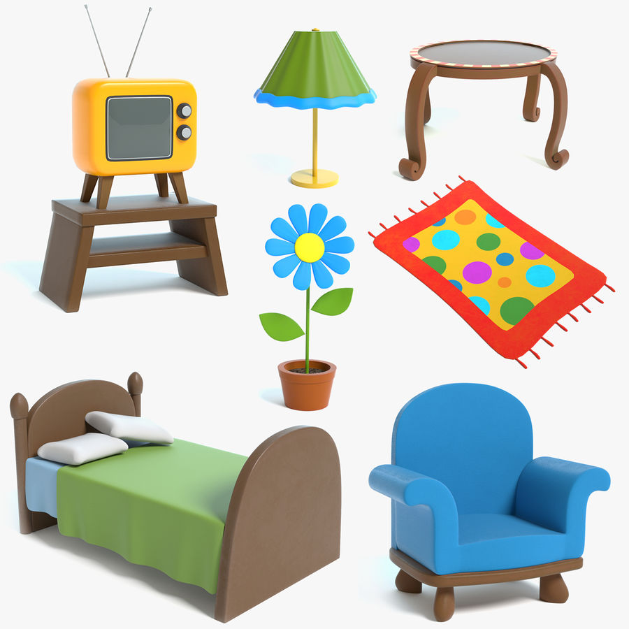 Cartoon Furniture Set 3 royalty-free 3d model - Preview no. 1