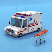 Ambulanza con barella 3d model