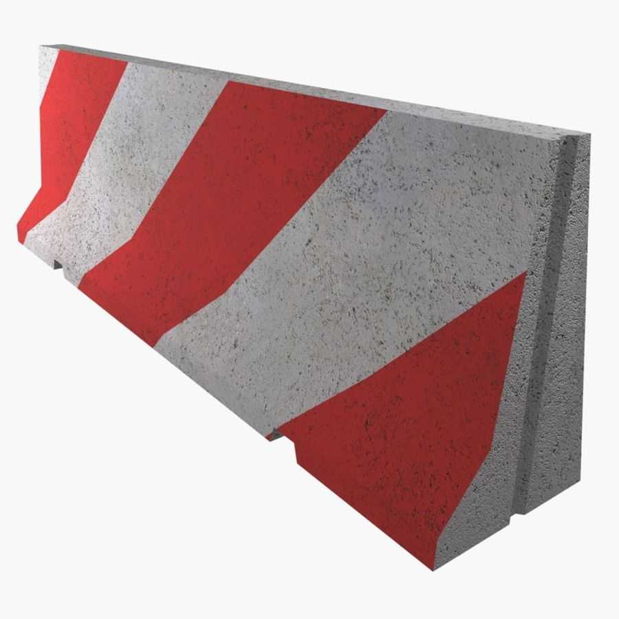 Concrete road barrier royalty-free 3d model - Preview no. 1