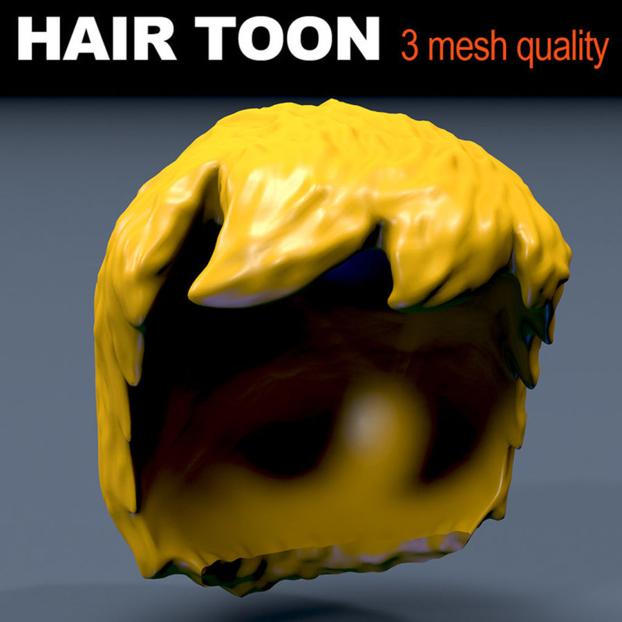 Hair Toon 3 mesh quality royalty-free 3d model - Preview no. 1