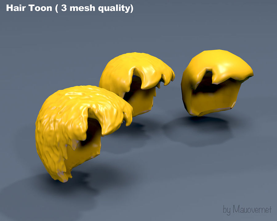 Hair Toon 3 mesh quality royalty-free 3d model - Preview no. 2
