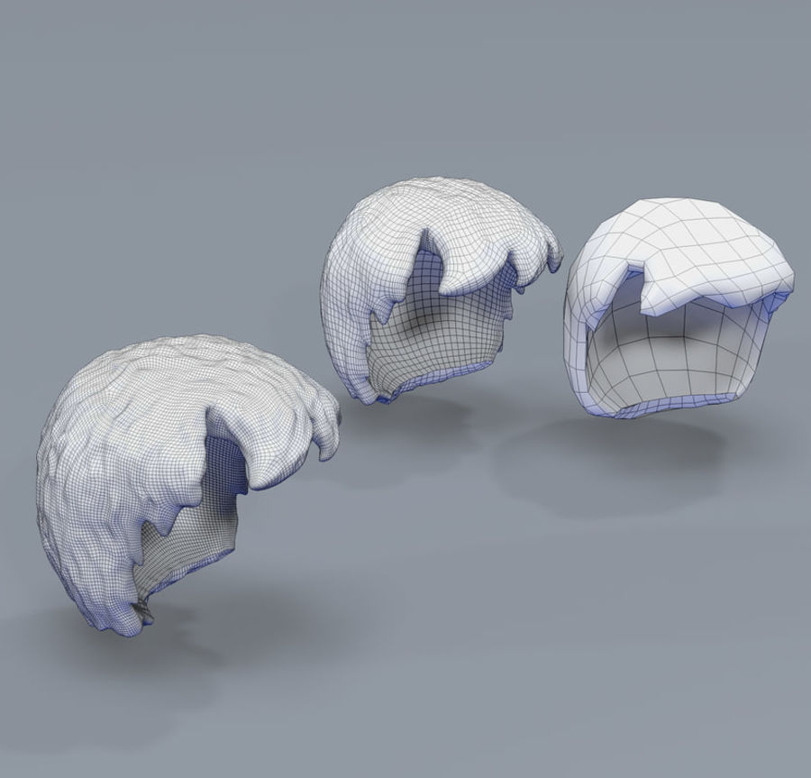 Hair Toon 3 mesh quality royalty-free 3d model - Preview no. 3