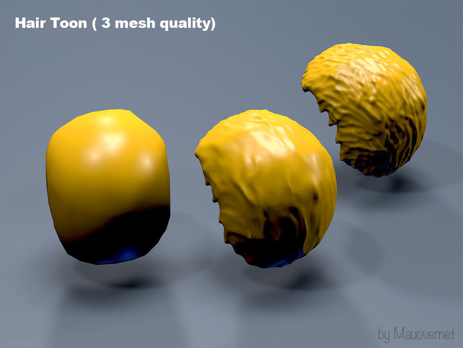 Hair Toon 3 mesh quality royalty-free 3d model - Preview no. 5