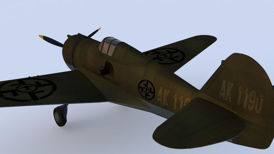 P36 WW2 Aircraft royalty-free 3d model - Preview no. 7