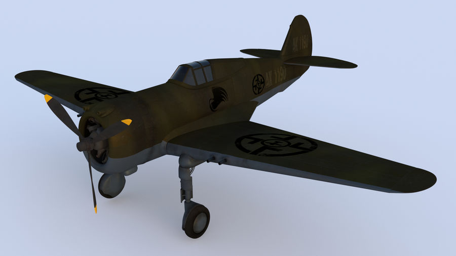 P36 WW2 Aircraft royalty-free 3d model - Preview no. 1