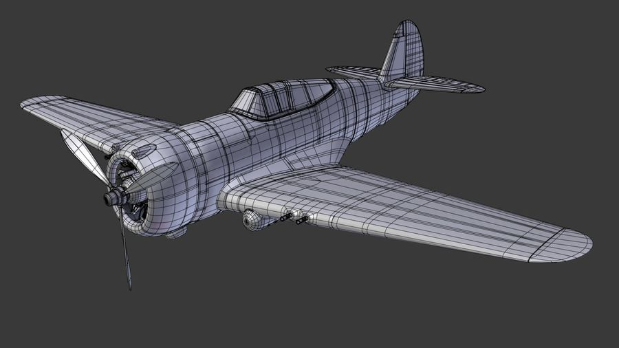 P36 WW2 Aircraft royalty-free 3d model - Preview no. 3